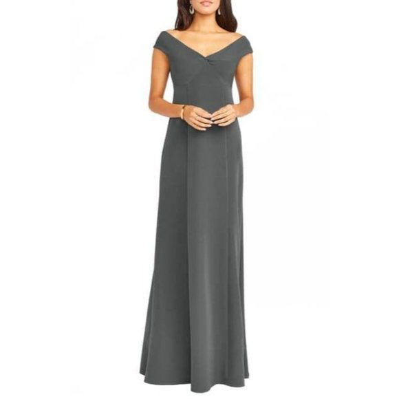 Show Me You Mumu Zurich Front Knot Gown Charcoal